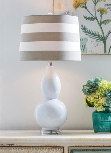 Warm Design Beyaz Seramik Masa Abajuru Beyaz
